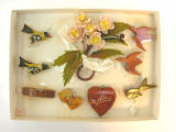 Box with Assorted Bird & Shell Flower Pins