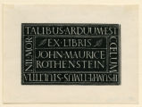 Book-Plate of John Maurice Rothenstein
